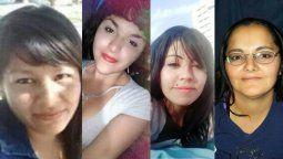 Las víctimas de femicidios en Mendoza: Mercedes, Abigail, Daiana y Griselda.