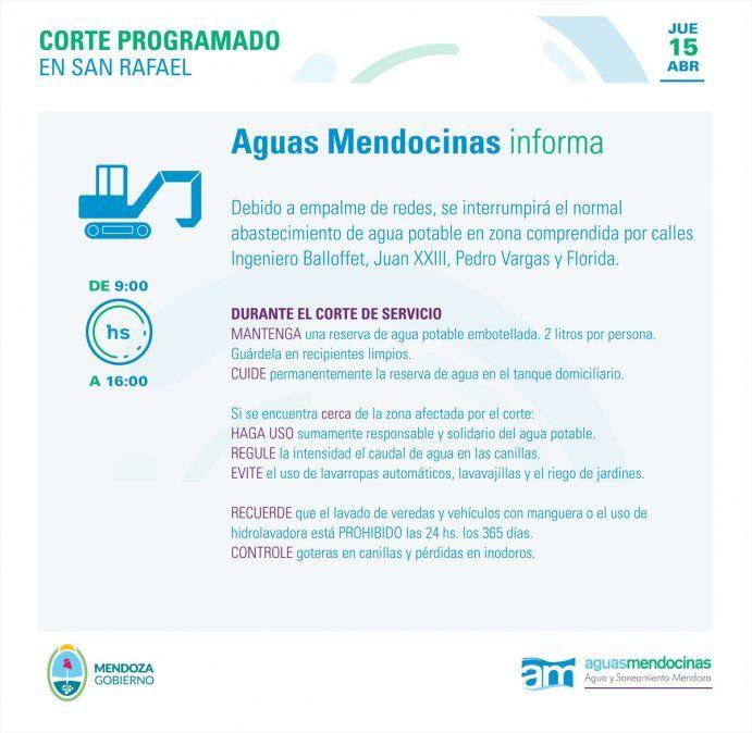 Aguas mendocinas: corte de agua programado para 15 de abril