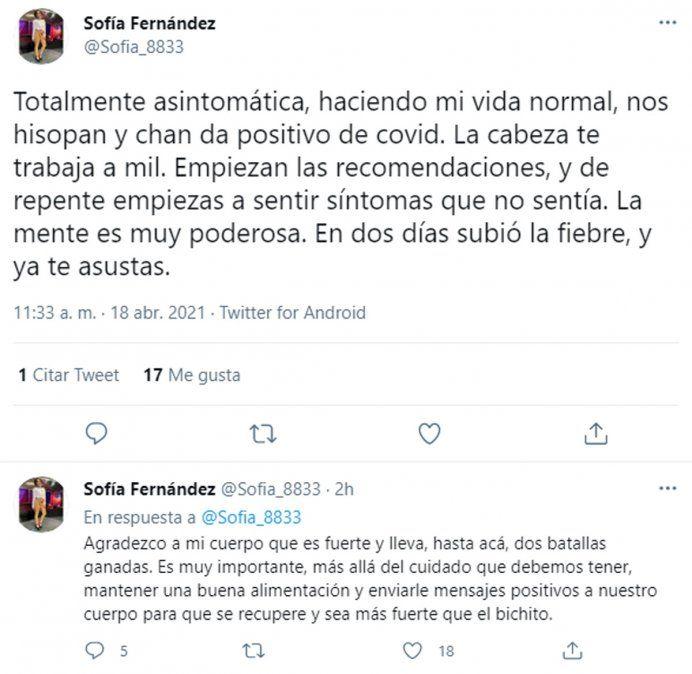 Sofía Fernández y su lucha interior contra el coronavirus: Mi cuerpo es fuerte, ya lleva dos batallas ganadas