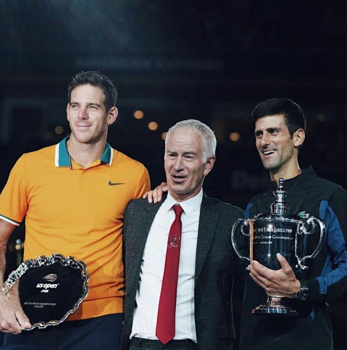 Juan Martín Del Potro y John Mc Enroe durante la premiación del US Open 2018.