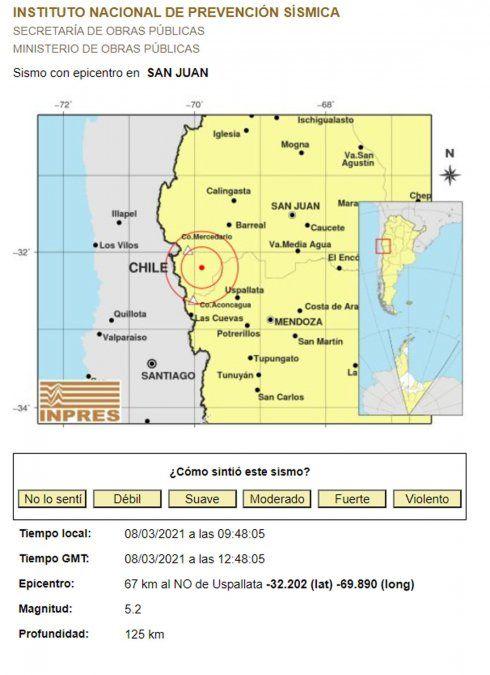 Fuerte temblor en Mendoza, con epicentro en San Juan