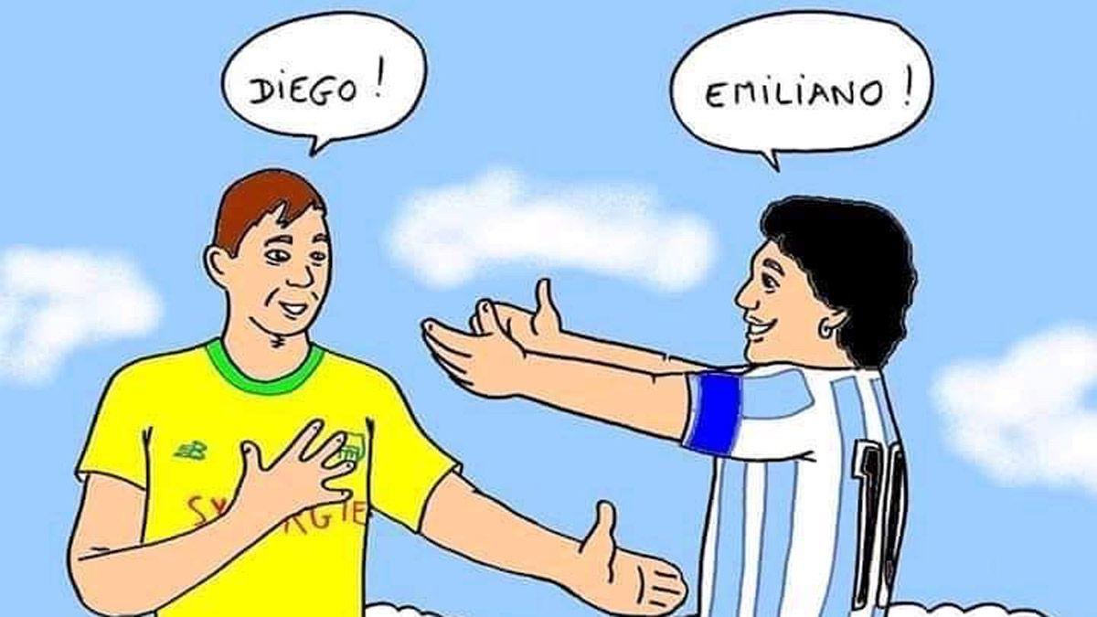 Emiliano Sala recibe a Diego Maradona en el cielo