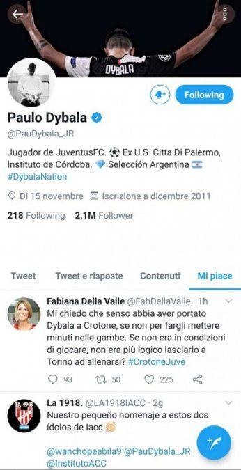 Paulo Dybala y un momento de tensión con Juventus