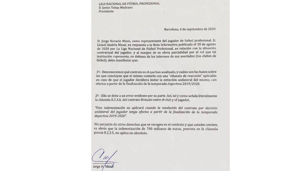 Comunicado oficial de la novela de Messi y el Barcelona