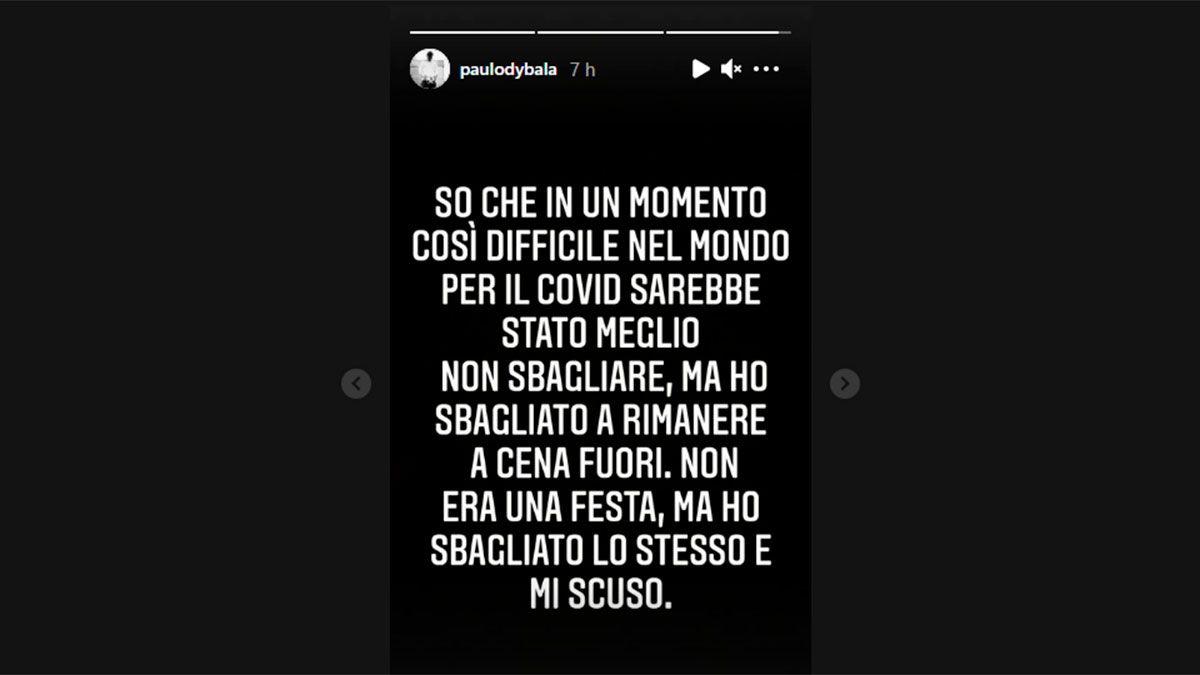 Paulo Dybala pidió disculpas públicamente