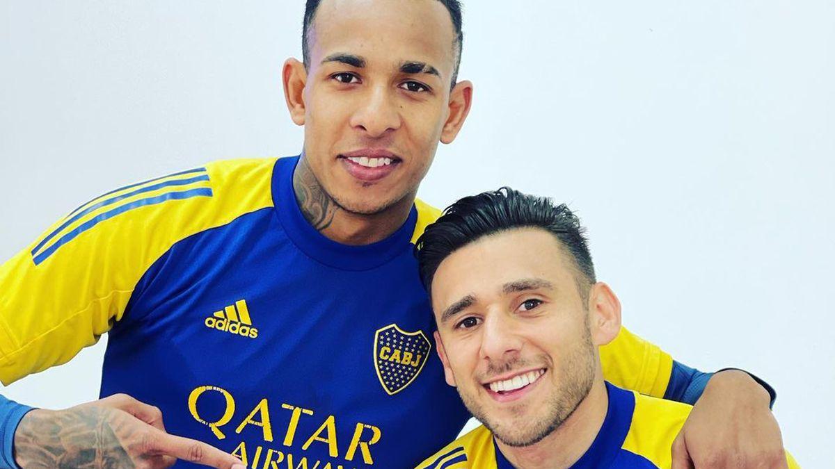 Sebastián Villa; sancionado, y el Toto Salvio, lesionado, se entrenan aparte en Boca.