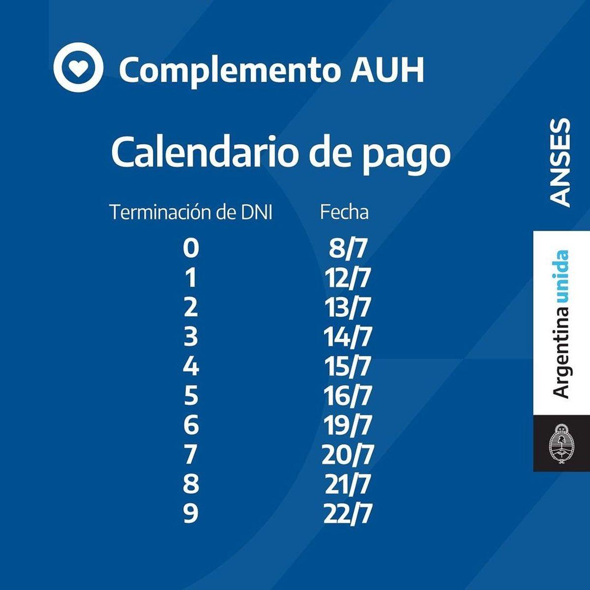 ANSES. Cuándo cobro lo retenido de AUH. Calendario de pago AUH julio 2021: prestación más complemento.