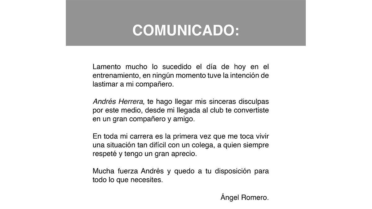 Ángel Romero pidió disculpas tras la dura lesión de Herrera