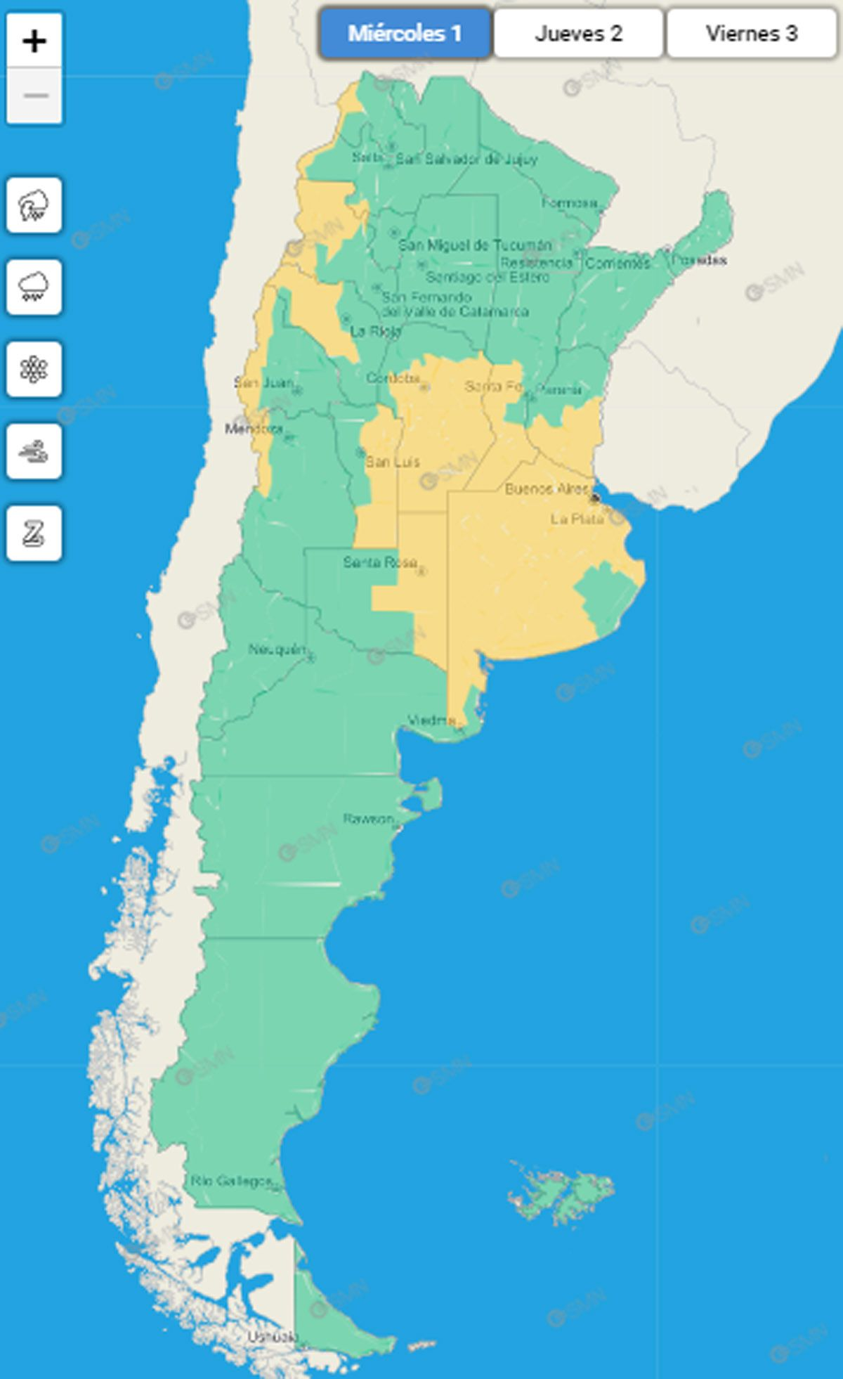 El mapa argentino con el sistema de alertas del SMN para el miércoles 1 de septiembre