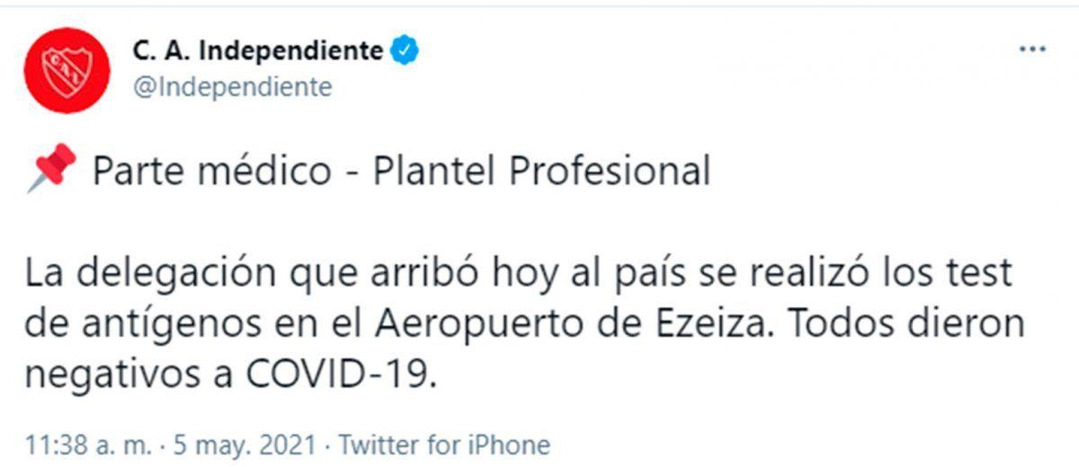 Independiente está aislado en un hotel tras llegar de Brasil