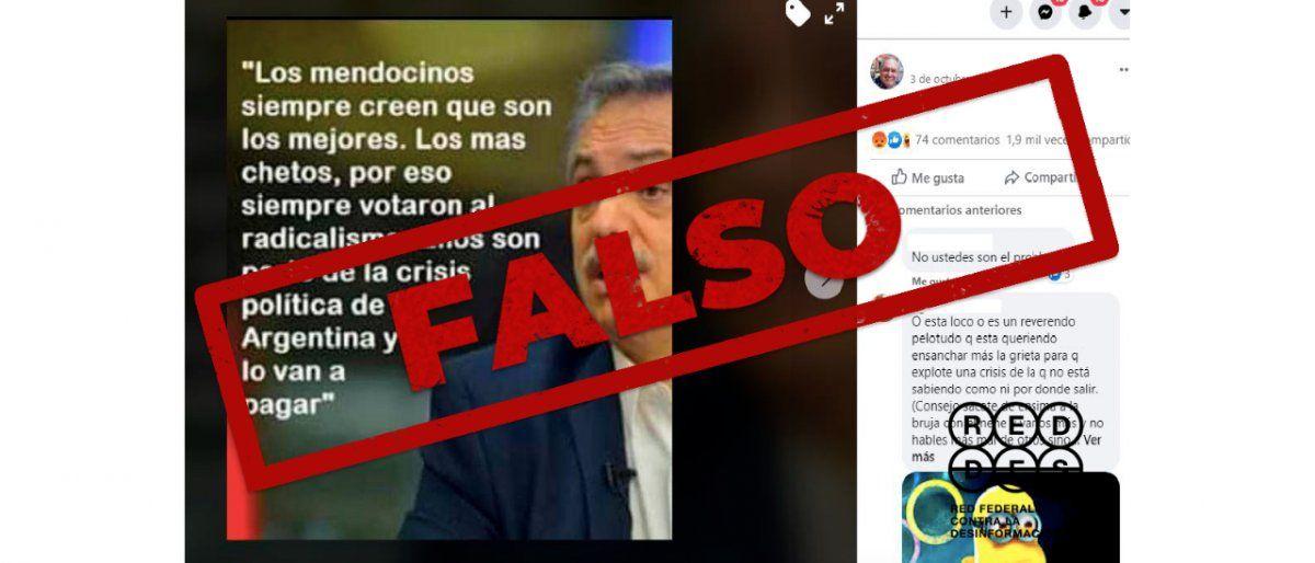 Es falso que Alberto Fernández trató de chetos a los mendocinos y los amenazó con hacerles pagar la crisis política.