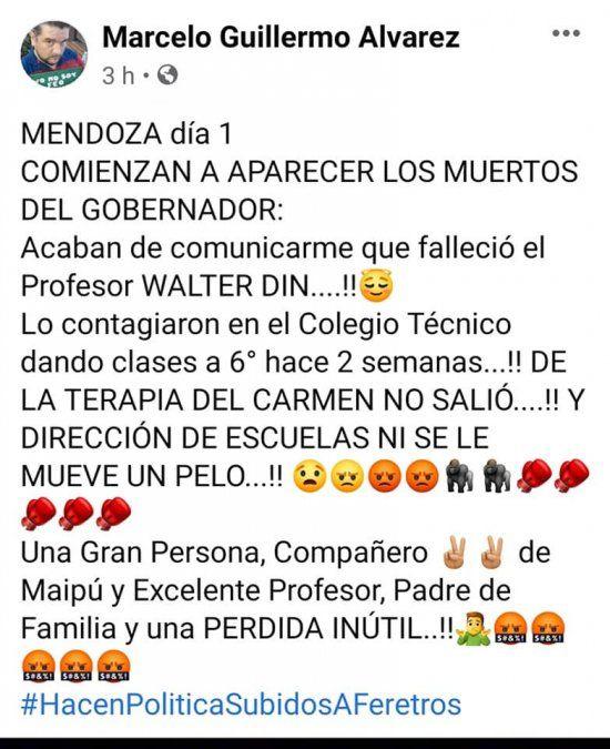 Murió un docente de una escuela de Godoy Cruz por coronavirus
