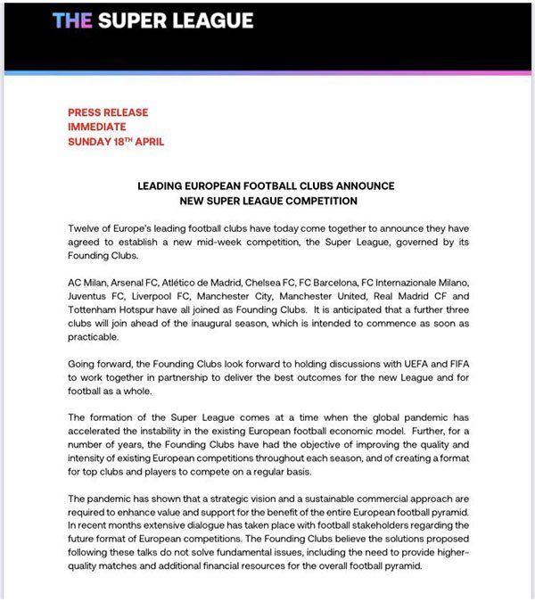 Los principales clubes de Europa anuncian la nueva Superliga
