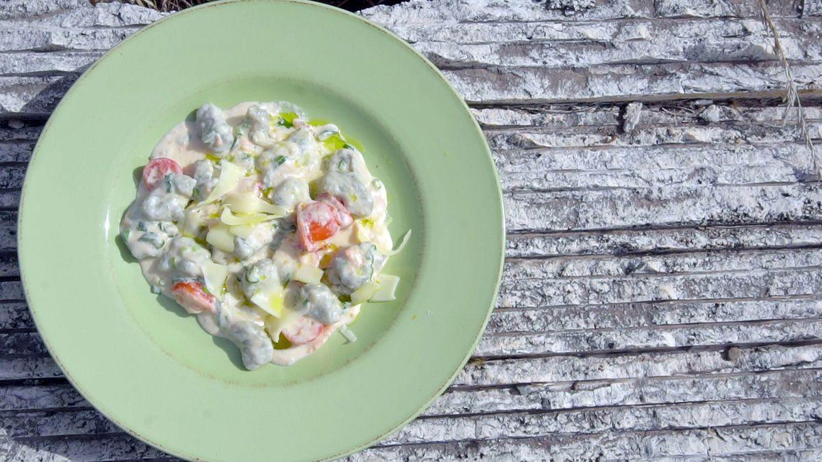 Receta de ñoquis de batata con salsa de salmón ahumado