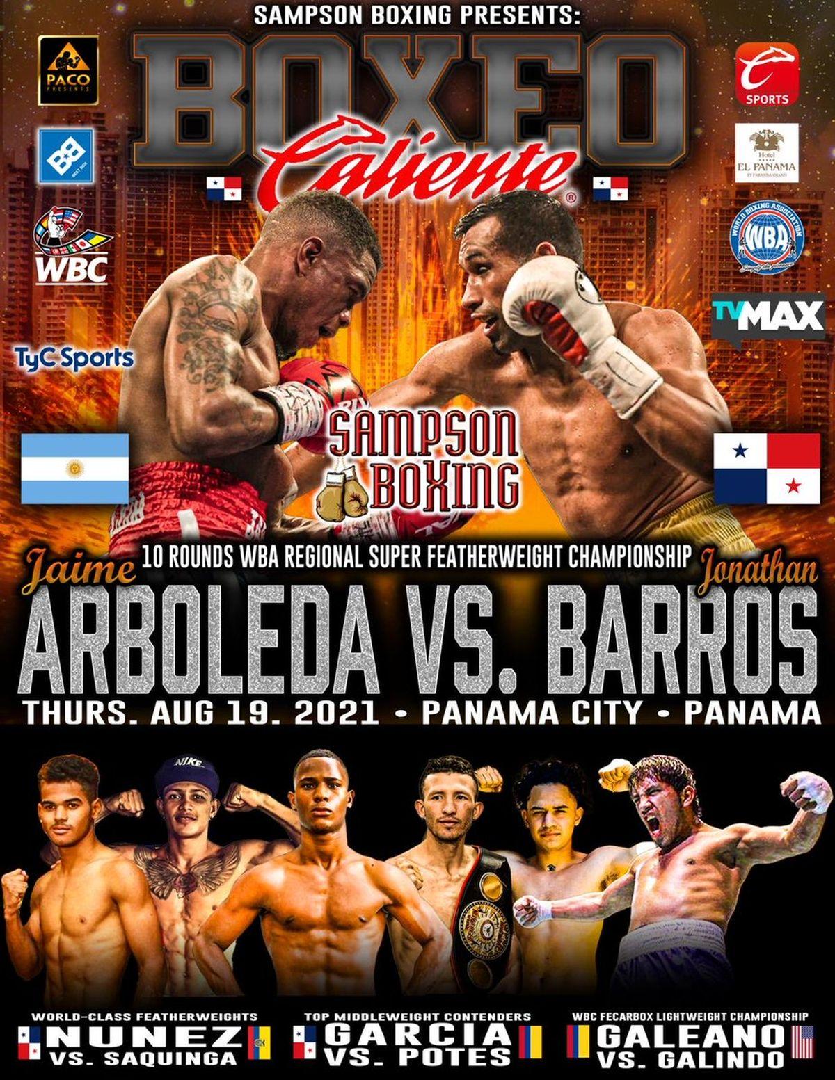 El anuncio del combate entre Jonathan Barros y Arboleda.