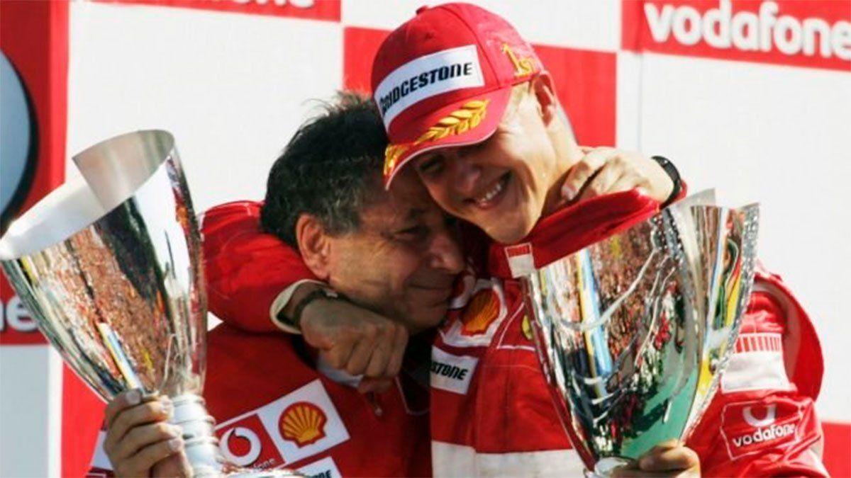Jean Todt junto al heptacampeón de Fórmula 1 Michael Schumacher.