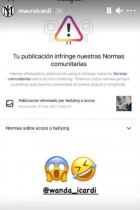 Instagram censuró a Mauro Icardi por acoso o bullying