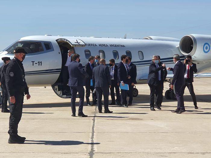 Alberto Fernández llega a la provincial de San Juan.