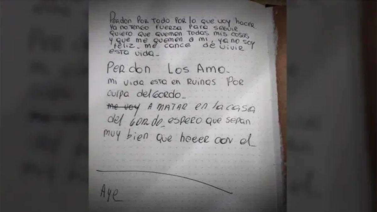 La carta que dejó la joven mujer que se quitó la vida.