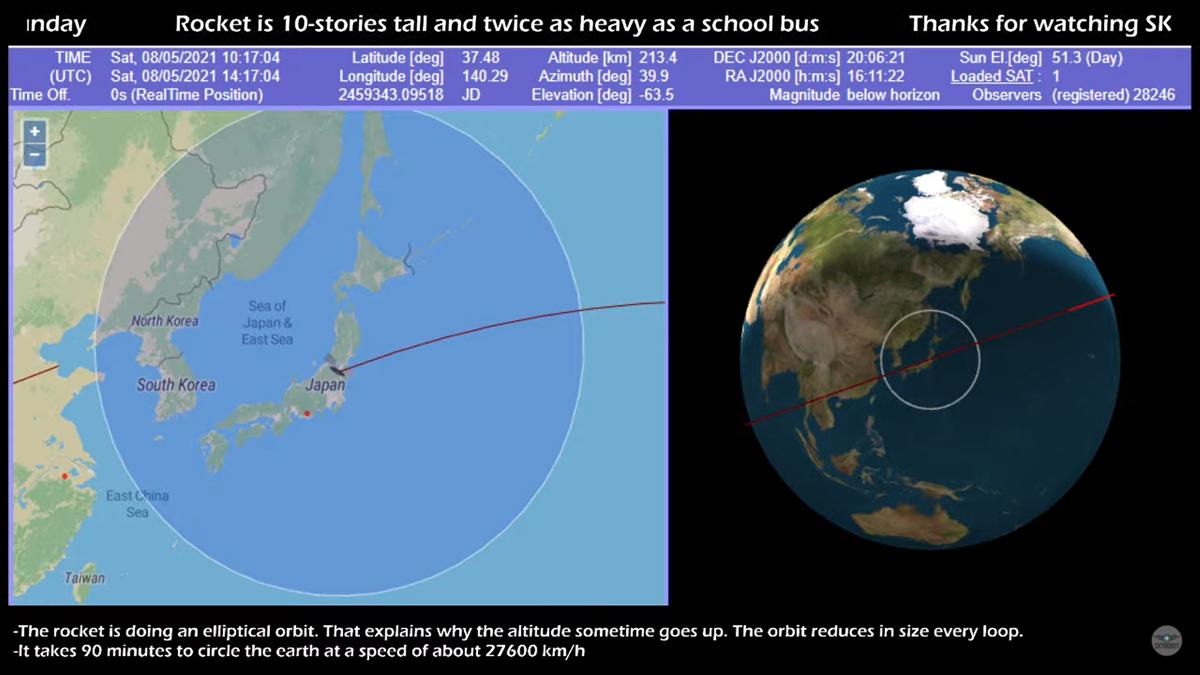 Seguí en vivo el recorrido del cohete chino que está fuera de control