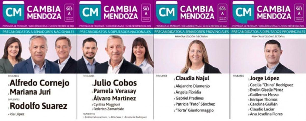 La boleta que presentará Cambia Mendoza en las elecciones primarias