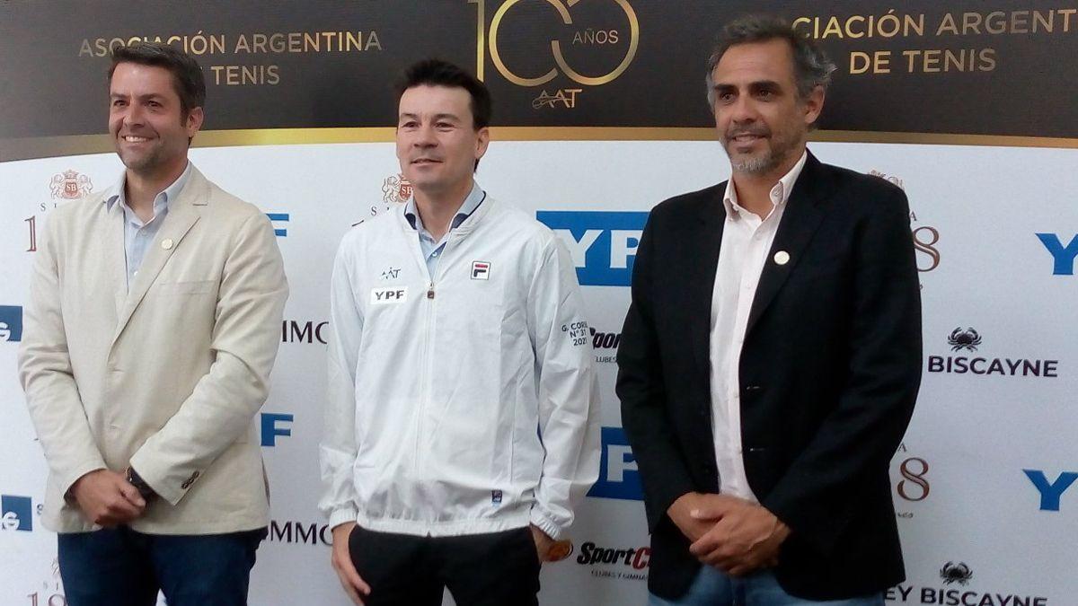 Calleri, Guillermo Coria y Zabaleta en la presentación del Mago como capitán de Copa Davis.