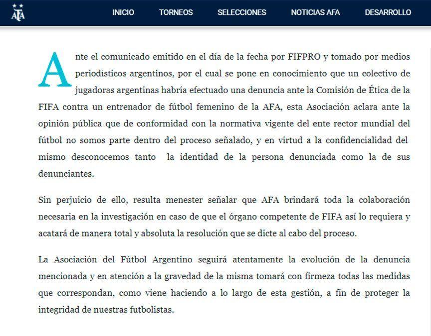 Vanina Correa se refirió a la denuncia contra un DT de AFA