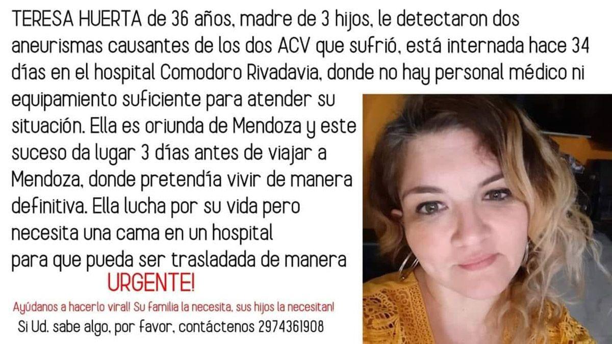 La mendocina María Teresa Huerta tuvo dos ACV en Comodoro Rivadavia y su familia pide por un traslado urgente a Mendoza o Buenos AIres