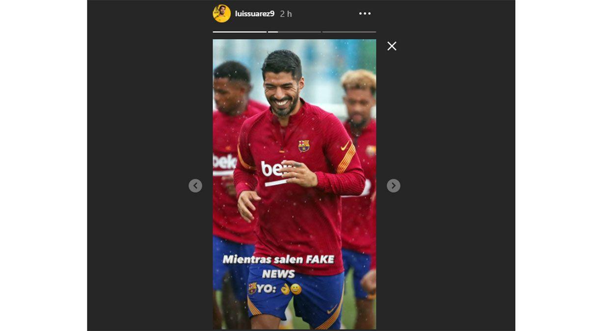 Luis Suárez publicó una historia en Instagram.