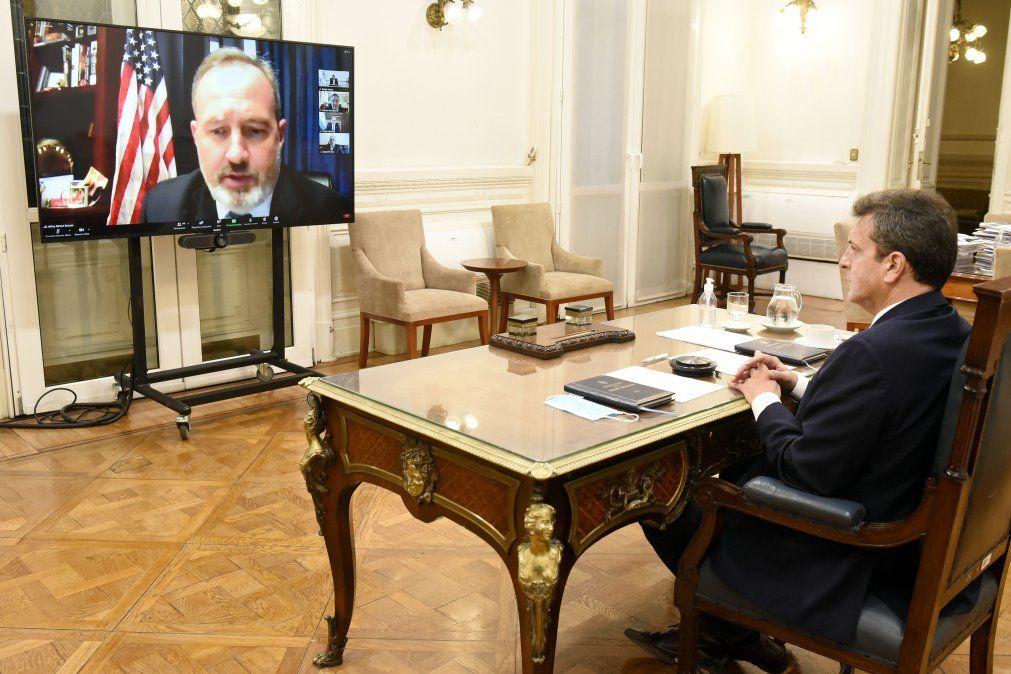 Sergio Massa mantuvo una videoconferencia con legisladores de Estados Unidos.