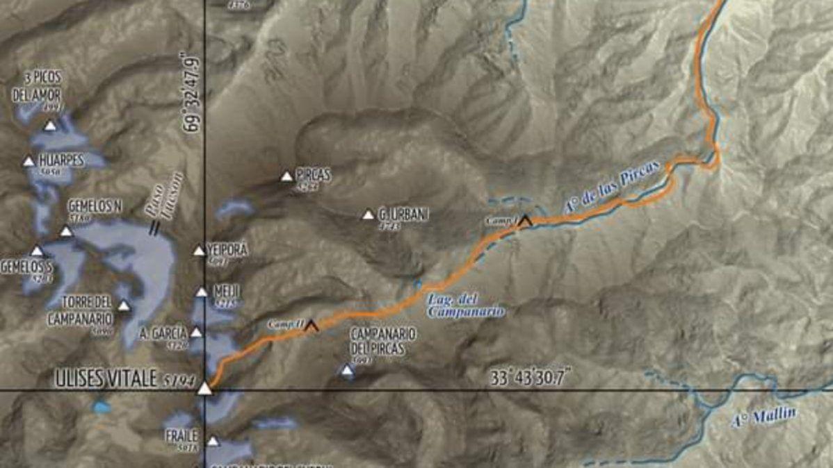 Itinerario de la expedición al cerro Ulises Vitale