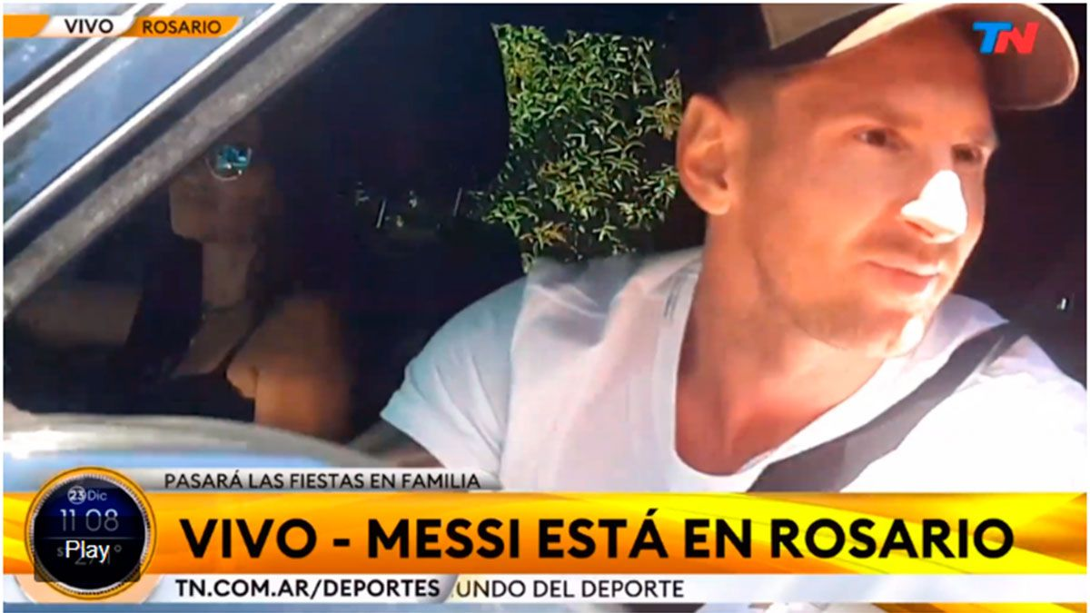 Messi llegó a la Argentina para pasara Navidad junto a su familia. (Captura de pantalla/TN).