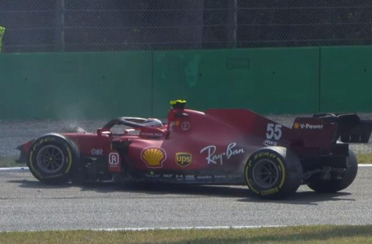 La Ferrari de Carlos Sainz quedó destruida en Monza.