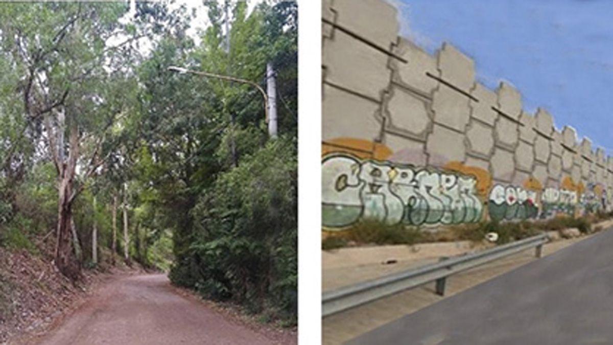 Esta composición la hicieron los vecinos autoconvocados de Chacras de Coria mostrando la imagen actual de la calle Benito San Martín y cómo estiman que quedará con la obras de remodelación.