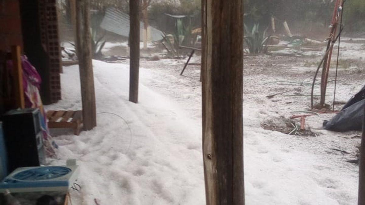 El granizo no dio trégua en el sur de Mendoza y la tormenta afectó varias zonas cultivadas.