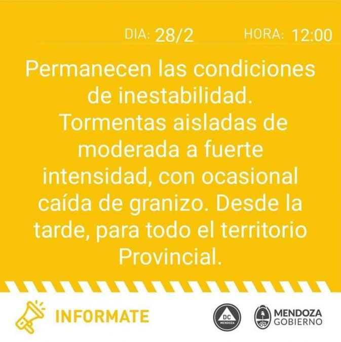 Alerta meteorológico para Mendoza por tormentas y granizo