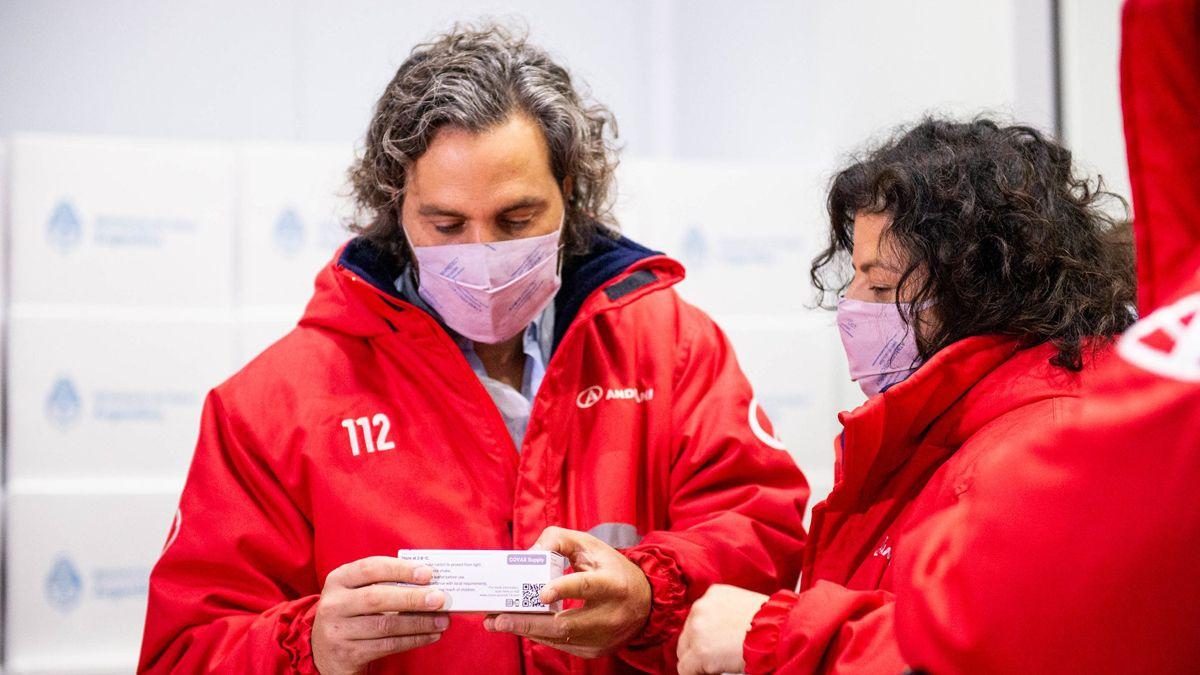 Santiago Cafiero y la ministra de Salud