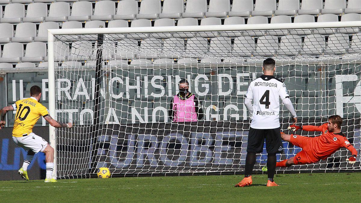 Rodrigo De Paul le dio la victoria a Udinese, pero fue expulsado