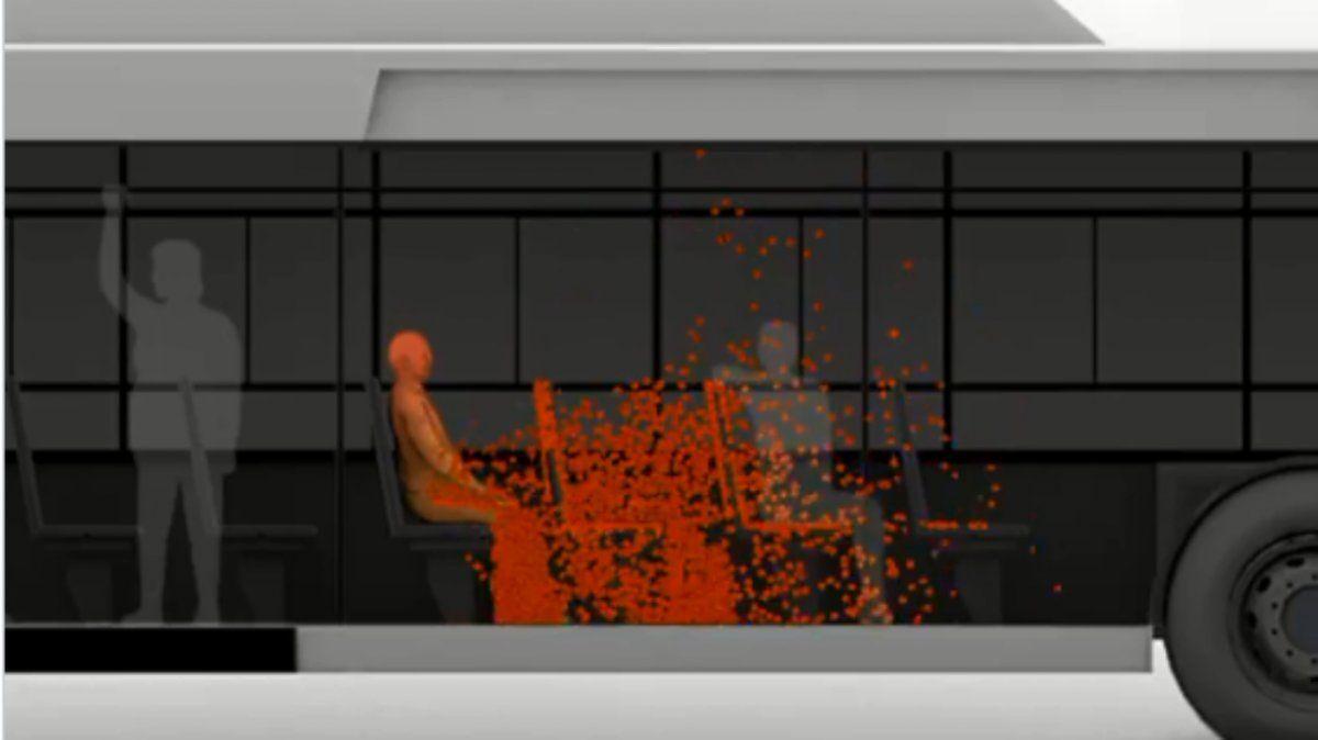 Esta imagen tomada del video realizado con una investigación de dos científicos del Conicet demuestran cómo se propaga el aerosol generado por un estornudo dentro de un colectivo.