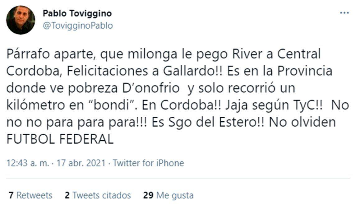 Pablo Toviggino trató de boludos a TyC y le pegó a Donofrio