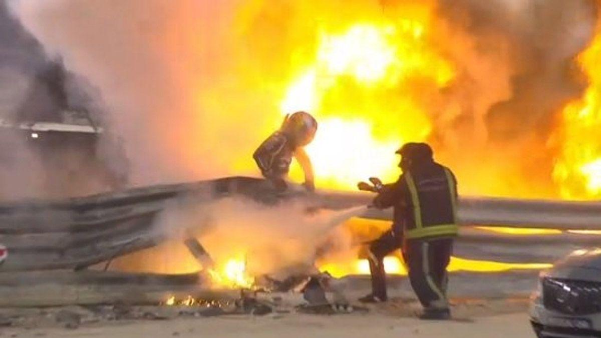 Así explotó el auto de Grosjean en el terrible accidente