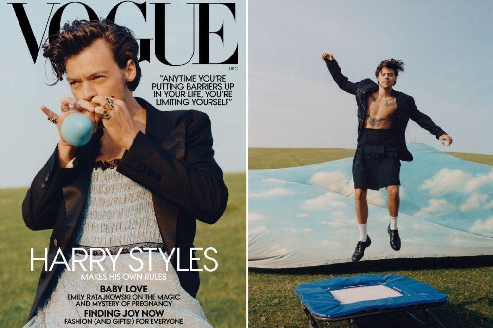 Furor por la tapa de Harry Syles en Vogue luciendo un vestido