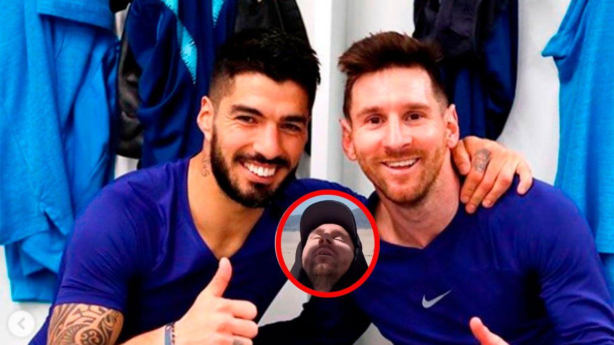 Luis Suárez bromeó con la carita de Lionel Messi
