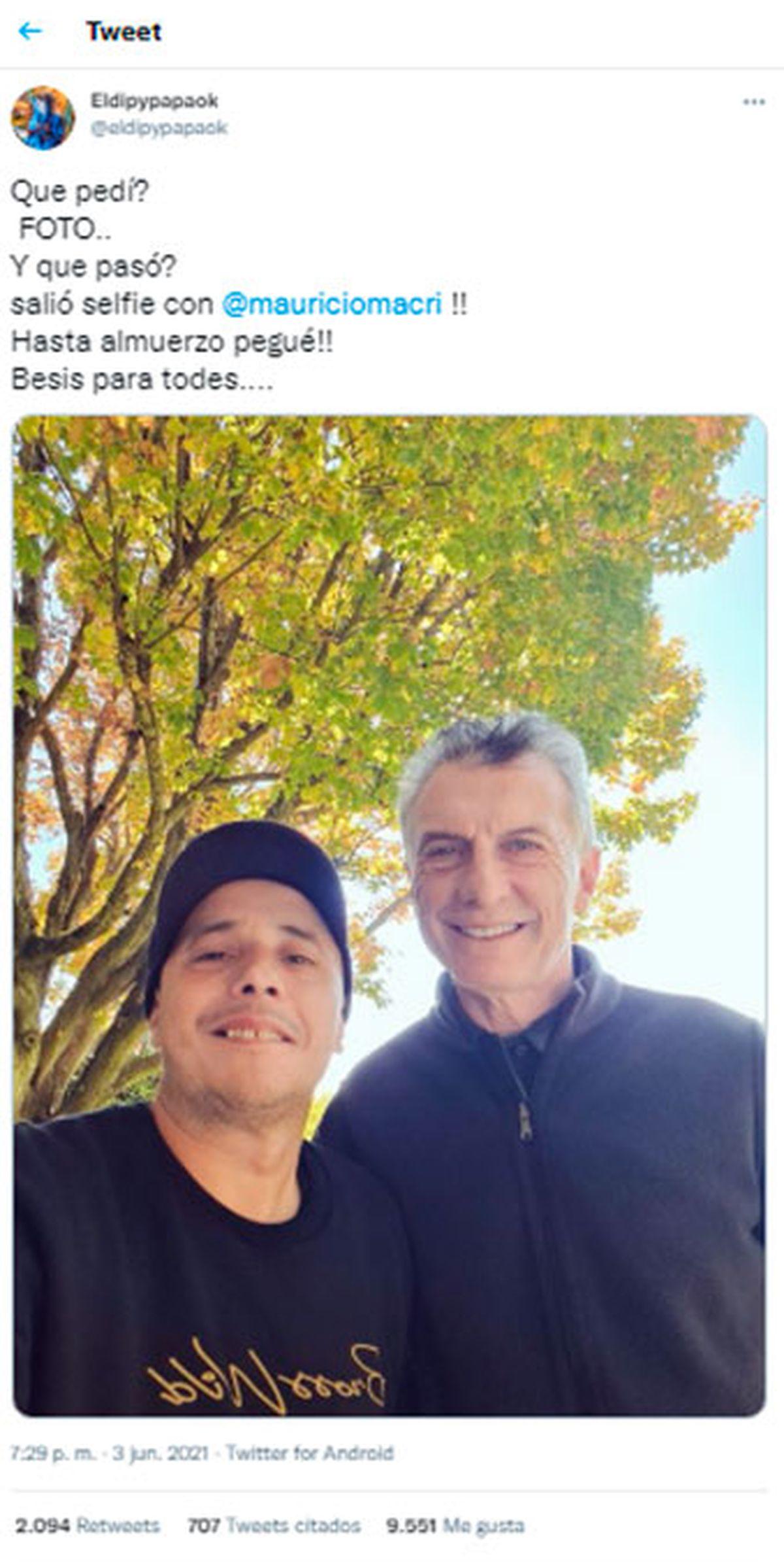 El Dipy se sacó la foto con Mauricio Macri y pegó almuerzo