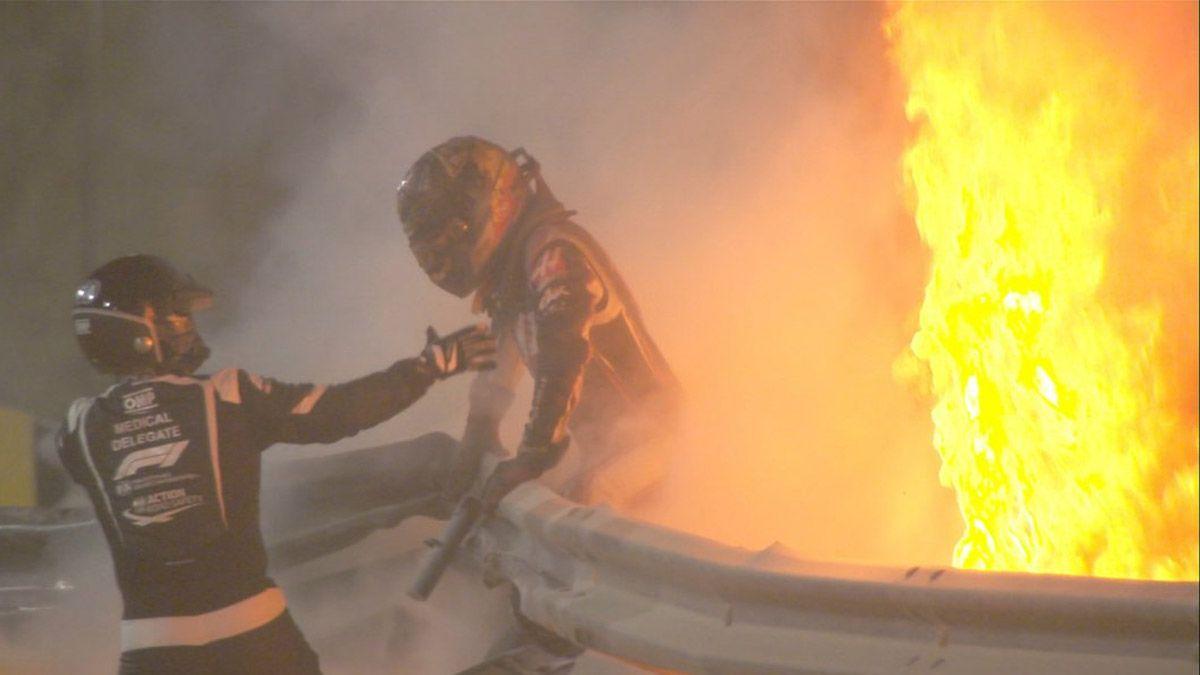 Grosjean salvó su vida de milagro entre las llamas