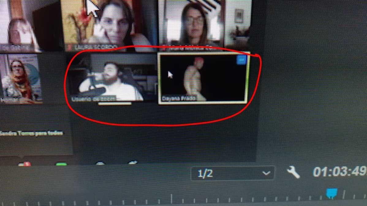La dislexia y su problemática era el tema de una videoconferencia que se realizaba este sábado a la tarde. y fue interrumpida por la acción de hackers. En el círculo rojo se aprecia el material obseno que subieron mientras una especialista de Buenos Aires exponía.