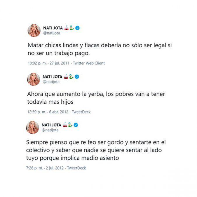 Nati Jota escrachada por tuits viejos como Matera